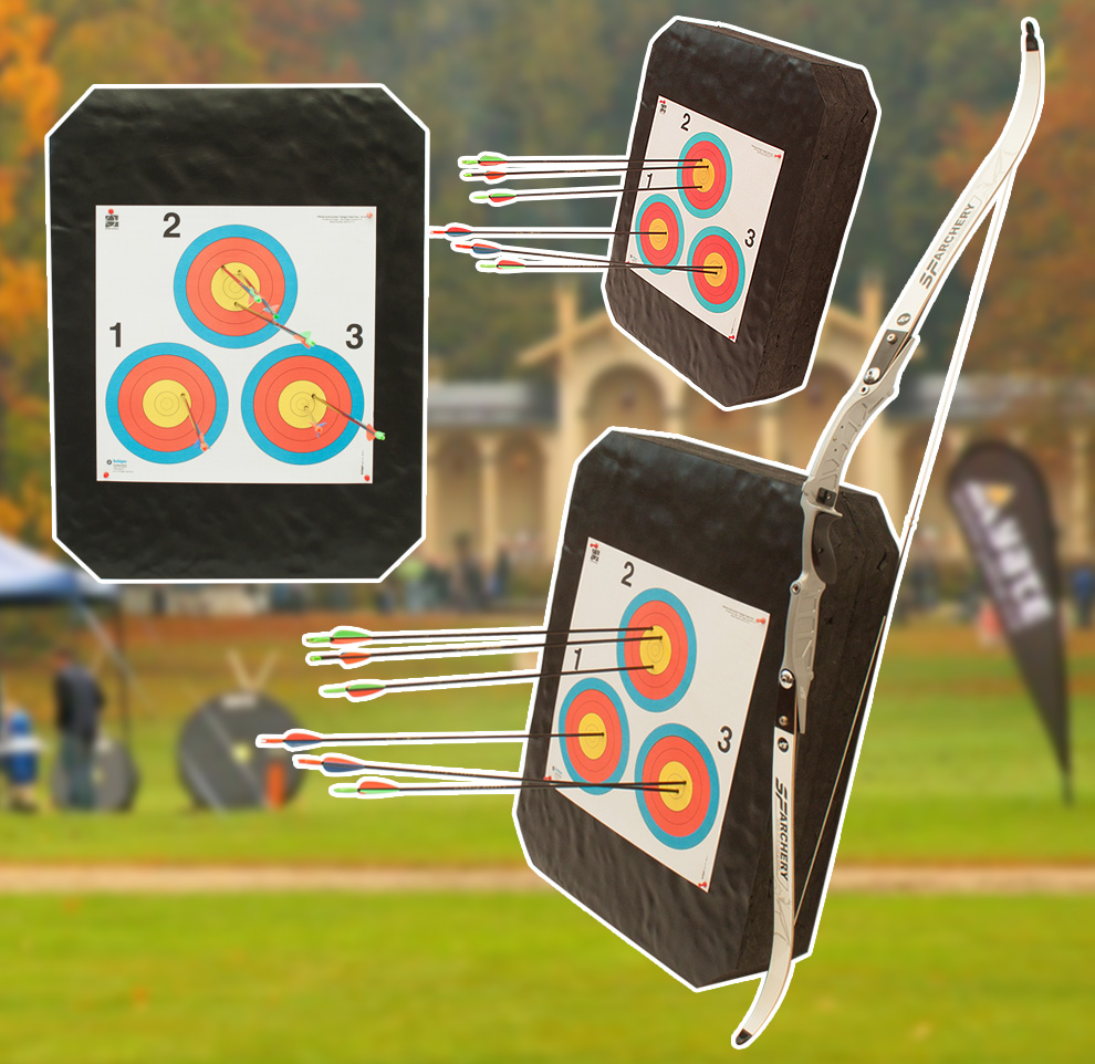 archery-target-DOUBLE-Polimix-R-80x60-cm-with-arrows-and-bow